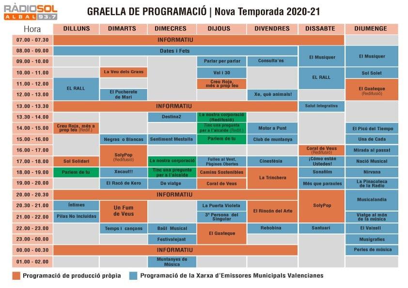 Ràdio Sol Albal Programación 2020-2021